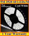 led strip RGB,3528 SMD 5M 300 LED Cool White Flexible led strip light + DC connector + Free shipping