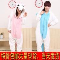 Lovers one piece sleepwear winter thickening coral fleece unicorn animal cartoon lovers lounge