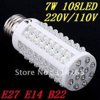 Free shipping 108 LED 7W 700LM Cold/warm White Energy Saving Corn Light Bulb lamp E27  B22  E14 220V/110V CE