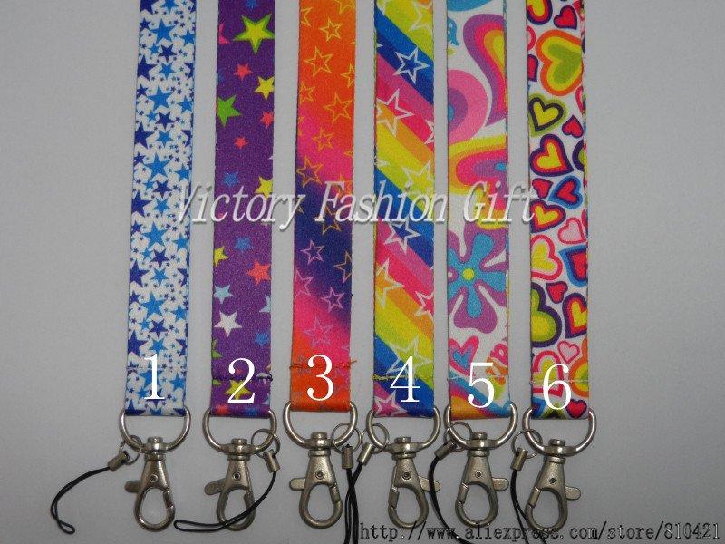 Free Shipping rainbow Star-shaped Printed key lanyards Mobile strap(China (Mainland))