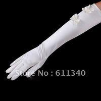 WHITE Brand New Elbow Elastic Bow Tie Bridal wedding lady Evening Gloves E-1