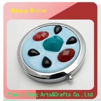 2012Hot sale wholesale makeup free shipping the fashion newest style compact travel mirrors metal(LF-MM-0150B)