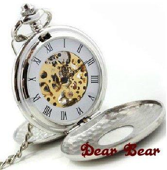 SIlver Tone Hunter Case Roman Numeral Mechanical Pocket Watch , 6 pcs/lot