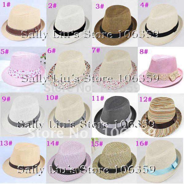 Mixed Baby Straw Fedora Hat Children's Summer Sun Cap Kids Top Hat Boys/Girls Cowboy Hat Dicers 20pcs/lot Free Shipping(China (Mainland))
