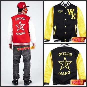 Taylor gang hiphop male baseball uniform thickening plus size baseball clothing cardigan jacket color block decoration outerwear