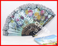 Free shipping (60pcs/lot) assorted flower fabric hand fan with lace holiday gift or wedding favor