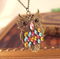 Min.order is $10 (mix order)  cheap ! 31I51   fashion vintage  Hollow Cute Owl Necklace wholesal!free shippping