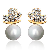 Stud earring female fashion crystal butterfly pearl earrings ol lovers accessories gift