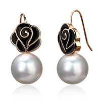 Accessories rose shell pearl earrings female vintage stud earring gift