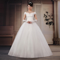 Free Shipping!New Arrival Fashion Stylish Good Quality  Sweet Princess Bride Slit Neckline Wedding Dresses