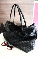 2013 female fashion leather woven bag vintage fashion handbag one shoulder big bag