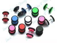 Free Shipping 100pcs/lot Mix Color FAKE 8mm Flesh Plug Ear Stretcher Cheater Expanders Earrings