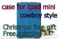 Высокое качество Ковбой зерна кожаный чехол для iPad Мини дело на Новое iPad Мини, Бесплатная Доставка
