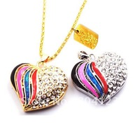 retail genuine 4gb 8gb 16gb 32GB usb flash memory stick usb flash drive colorful heart jewelry metal Free shipping