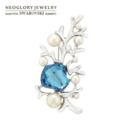 Free Shipping Neoglory Jewlery MADE WITH SWAROVSKI ELEMENTS Crystal Alloy Rhinestones Brooch for female Charm Gift Gifts(China (Mainland))