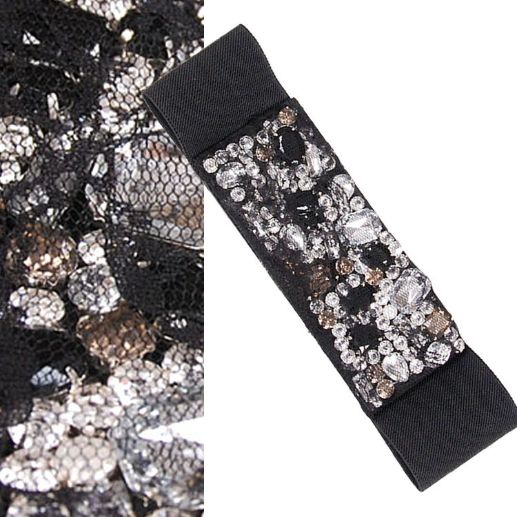 Luxury big gem cover lace elastic all-match cummerbund belt(China (Mainland))