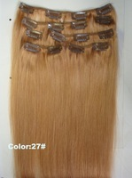 "7pcs/set  Clips-in Human Hair extensions 16"" 18"" 20"" seize, 27# color Free shipping"
