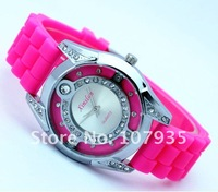Hot sale  fashion diamond women's silicone strap quartz wrist watches, 7 colors,10pcs/lot