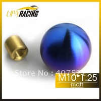 M10*1.25 Matt High quality gear shift knob , auto shift knob for nissan mazda  ball shape CNC grill bule titanium color 46mm