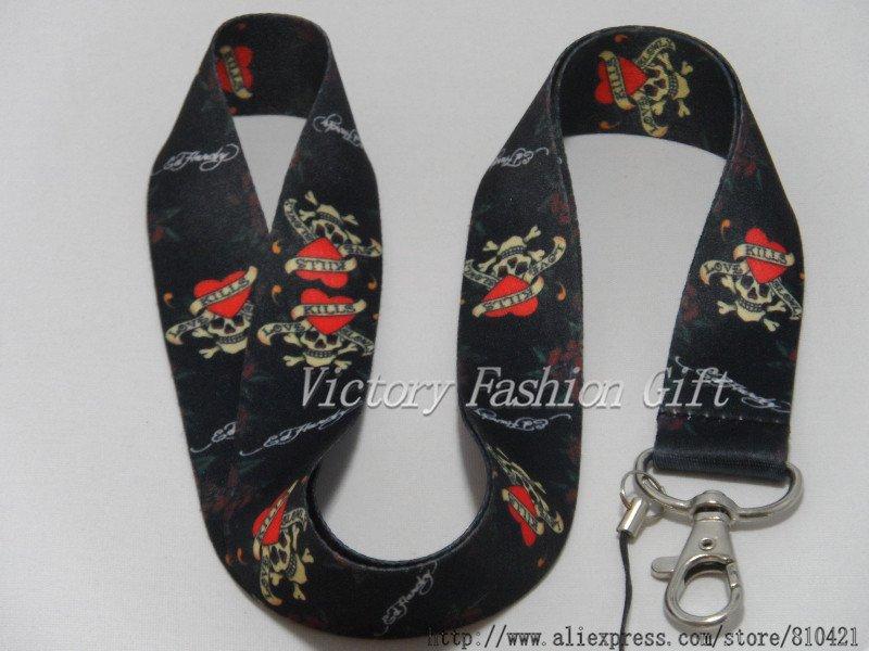 Free Shipping black kiss love neck lanyard mobile phone strap for Christmas wholesalers(China (Mainland))
