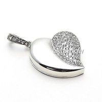 Silver Heart Shape Crystal Jewelry USB Flash Memory Drive Necklace Pendant-2GB 4GB 8GB 16GB 32GB100%full capacity
