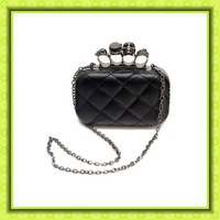 2012 new skull ring bag retro vintage handbags evening bag leather chain fashion Popular