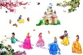 Free shipping ,assembled size 200cm*140cm, princesses Combination Wall Stickers, cartoon stickers