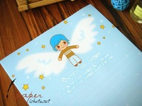 Inpaper letterheads, lyrical lines * guardian angel, 16 sheets / confession of love letters, blue, Free shipping