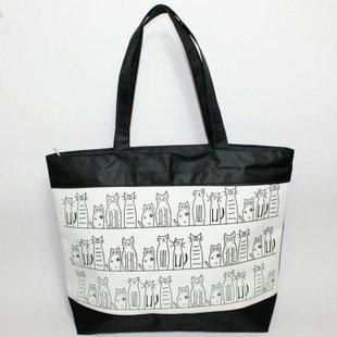 Free Shipping, Fashionable Casual Cartoon 2-illust Neko Cat Shopping Bag Eco-friendly Bag Shoulder Bag(Min order 1 lot/5 pcs)(China (Mainland))