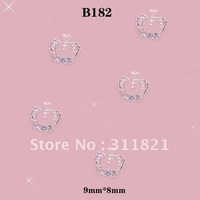 Free Shipping 3D 50pcs/bag Silver Bow All Crystal Crown Metal Nail Decoration Lovely Outlooking Nail Art Decorations