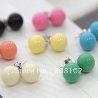 Small accessories candy stud earring sphere earrings cheap earring jewelry 10 pairs