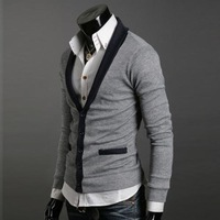 Cultivate one's morality western style city top man big V collar of abb cloth cardigan man small coat