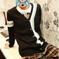 Wholesale Free Shipping Outerwear Male Spring and Autumn Casual Cardigan Slim V-neck Sweater M,L,XL Black,Grey