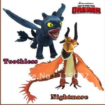 2X How to Train Your Dragon Toothless Night Fury Firedragon nightmare Plush Toy Stuffed Teddy Dolls