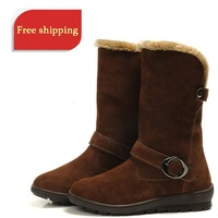 2012 fashion!!!Genuine leather snow boots waterproof medium-leg boots slip-resistant  outsole female boots free shipping