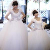 Luxury wedding dress formal dress gorgeous elegant puff sleeve bandage wedding dress bride !