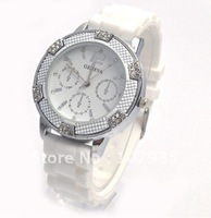 Wholesale NEW Arrival 100% Brand New Fashion Silicone Diamond watch Lady Men Lover Watch 9 Colors, 50pcs/lot Free Shipping