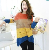 FREE SHIPPING NEW FASHION WOMEN CANDY SPELL COLOR ROUND NECK LOOSE JUMPERS SWEATER PULLOVERS