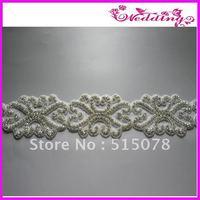 New Arrive Bridal Motif Silver Crystal Clear Rhinestone Applique Embellish!!