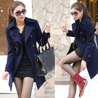 Women's Woolen Overcoat Double-breaseted Solid Turn-down Collar Long Design Trench Navy Blue
