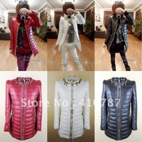 Free Shipping 2012 Newest Fashion Winter Women's Cotton Padded Jacket with O-neck Low Collar Slim Coat Outwear 4 Colors ML02