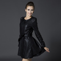 Women's Leather Trench Slim Exquisite Ruffles Outerwear  Plus size Medium-long Style PU  Leather Clothing