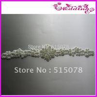 "Big Size Long Crystal Bridal Sash, Rhinestone Applique 16.5"""