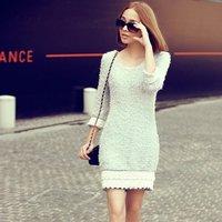 7582 # models real shot * 2014 autumn new Korean quality OL Slim Sleeve sweater dresses