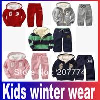 Brand Kids winter wear more designs/colors Hoodies+pant 2pcs set baby suit hoodies clothes children sport wear Free Shipping