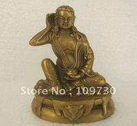 Tibet Buddhism Pure Bronze Arhat Milarepa Buddha Lama Monk Statue (Free Shipping)