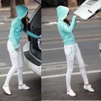 free shipping Autumn plus size clothing sweatshirt set pencil pants skinny pants cardigan sportswear set