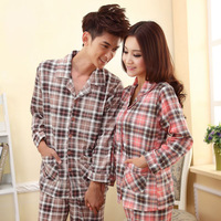 Free Shipping Autumn and winter lovers sleepwear plaid male women's set long-sleeve knitted cotton lounge