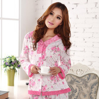 Princess plus size mother of the paragraph sleepwear women's spring and autumn long-sleeve knitted cotton laciness lounge set