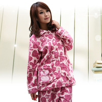 Free Shipping Princess autumn and winter quality soft coral fleece female sleepwear buck long-sleeve lounge